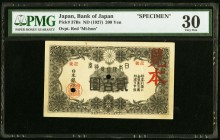 Japan Bank of Japan 200 Yen ND (1927) Pick 37Bs JNDA 11-41 Specimen PMG Very Fine 30. A handsome and historically important 200 Yen, issued in respons...