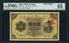 Japan Bank of Japan 20 Yen ND (1917) Pick 37s JNDA 11-34 Specimen PMG Choice Extremely Fine 45. A beautiful and scarce Specimen, and rare in any grade...
