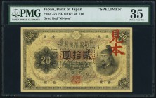 Japan Bank of Japan 20 Yen ND (1917) Pick 37s Specimen PMG Choice Very Fine 35. A true Specimen with the block and serial number replaced by words, wi...