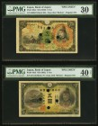 Japan Bank of Japan 5 Yen ND (1930) Pick 39s2 Specimen PMG Very Fine 30; 5 Yen ND (1942) Pick 43s3 Specimen PMG Extremely Fine 40 Net; 10 Yen ND (1930...