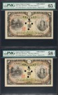 Japan Bank of Japan 1000 Yen ND (1945) Pick 45s3 JNDA 11-48 Two Consecutive Specimens PMG Gem Uncirculated 65 EPQ; Choice About Unc 58 EPQ. A pleasing...