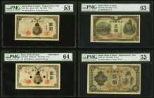Japan Bank of Japan 1 Yen ND (1943) Pick 49a* Replacement PMG About Uncirculated 53; 1 Yen ND (1943) Pick 49s3 Specimen PMG Choice Uncirculated 64; 5 ...