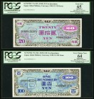Japan Allied Military Currency 20; 100 Yen ND (1945) Pick 73s; 75s JNDA 14-10; 14-9 Two Specimens PCGS Apparent Gem New 65; Apparent Very Choice New 6...