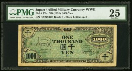 Japan Allied Military Currency 1000 Yen ND (1951) Pick 76a JNDA 14-8 PMG Very Fine 25. A Military Currency note that looks very similar to those issue...