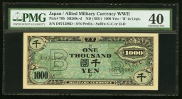 Japan Allied Military Currency WWII 1000 Yen ND (1951) Pick 76b JNDA 14-8 PMG Extremely Fine 40. A desireable example with well blended tranquil inks....