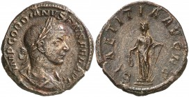 (241-243 d.C.). Gordiano III. Sestercio. (Spink 8712) (Co. 122) (RIC. 300a). 21,81 g. MBC+.