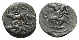 Islands of Spain, Ebusus, late 2nd-early 1st centuries BC. Æ (11.5mm, 1.46g, 6h). Bes standing facing; caduceus to l. R/ Bes standing facing; Phoenici...
