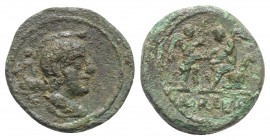 Central Italy(?), Uncertain mint, c. 2nd-1st century BC. Æ (17mm, 3.78g, 3h). Winged(?) bust r. R/ Nike standing r., holding wreath, before figure sea...