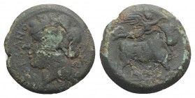 Northern Campania, Suessa Aurunca, c. 265-240 BC. Æ (19mm, 5.61g, 5h). Laureate head of Apollo l.; K to r. R/ Man-headed bull standing r.; above, Nike...