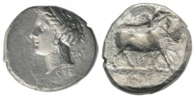 Southern Campania, Neapolis, c. 275-250 BC. AR Didrachm (21mm, 6.75g, 1h). Female head l., hair bound with ribbon; TAP behind, EYΞ below. R/ Man-heade...