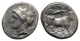 Southern Campania, Neapolis, c. 275-250 BC. AR Didrachm (20mm, 7.18g, 1h). Female head l.; quiver(?) behind. R/ Man-faced bull r., crowned by Victory;...