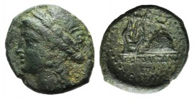 Southern Campania, Neapolis, c. 250-225 BC. Æ (19mm, 4.97g, 12h). Laureate head of Apollo l. within laureate wreath. R/ Lyre leaning against omphalos;...