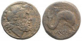 Northern Apulia, Luceria, c. 211-200 BC. Æ Teruncius (21mm, 9.59g, 1h). Diademed head of Neptune r. R/ Dolphin r.; above, trident head r. HNItaly 680 ...