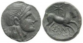 Northern Apulia, Salapia, c. 225-210 BC. Æ (20.5mm, 7.98g, 1h). Laureate head of Apollo r. R/ Horse prancing r.; star above. HNItaly 692c; SNG Copenha...