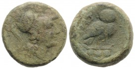 Northern Apulia, Teate, c. 225-200 BC. Æ Teruncius (22mm, 15.45g, 1h). Helmeted head of Athena r. R/ Owl standing r., head facing; three pellets below...