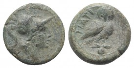 Northern Apulia, Teate, c. 225-200 BC. Æ Uncia (15mm, 3.97g, 6h). Helmeted head of Athena r. R/ Owl standing r., head facing; pellet below. HNItaly 70...