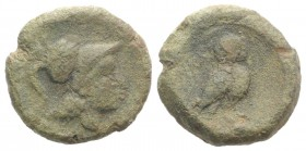 Northern Apulia, Teate, c. 225-200 BC. Æ Uncia (16mm, 4.48g, 6h). Helmeted head of Athena r. R/ Owl standing r., head facing; pellet below. HNItaly 70...