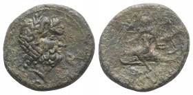 Southern Apulia, Brundisium, c. 2nd century BC. Æ Semis (22mm, 7.52g, 9h). Wreathed head of Neptune r.; to l., Victory, crowning him with wreath; trid...