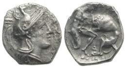 Southern Apulia, Tarentum, c. 380-325 BC. AR Diobol (10.5mm, 1.05g, 12h). Helmeted head of Athena r., helmet decorated with hippocamp. R/ Herakles kne...
