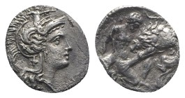 Southern Apulia, Tarentum, c. 380-325 BC. AR Diobol (11mm, 1.12g, 3h). Head of Athena r., wearing crested helmet decorated with Skylla. R/ Herakles kn...