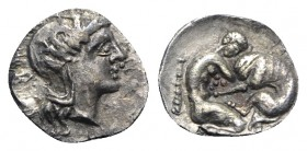 Southern Apulia, Tarentum, c. 380-325 BC. AR Diobol (11mm, 0.91g, 3h). Head of Athena r., wearing crested helmet decorated with Skylla. R/ Herakles kn...