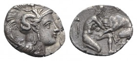 Southern Apulia, Tarentum, c. 380-325 BC. AR Diobol (11mm, 1.28g, 6h). Head of Athena r., wearing Attic helmet decorated with Skylla, holding a rock i...
