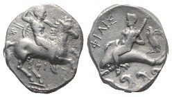 Southern Apulia, Tarentum, c. 290-281 BC. AR Nomos (20mm, 7.65g, 12h). Nude warrior on horseback right, holding two spears and shield, preparing to ca...