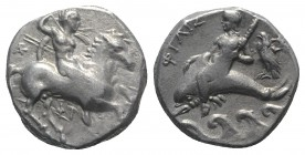 Southern Apulia, Tarentum, c. 290-281 BC. AR Nomos (19mm, 7.83g, 9h). Nude warrior on horseback right, holding two spears and shield, preparing to cas...