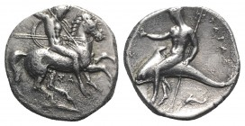 Southern Apulia, Tarentum, c. 315-302 BC. AR Nomos (21mm, 7.89g, 1h). Warrior, holding shield and two spears, preparing to cast a third, on horseback ...