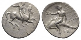 Southern Apulia, Tarentum, c. 320-315 BC. AR Nomos (20mm, 7.70g, 5h). Rider on horse galloping r., using whip; ΣΑ below. R/ Dolphin rider l., holding ...