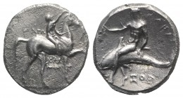 Southern Apulia, Tarentum, c. 320-280 BC. AR Nomos (21mm, 7.74g, 11h). Youth on horseback r., crowning horse; AΓΩ to l., KPAT/INOΣ below. R/ Phalantho...
