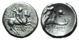 Southern Apulia, Tarentum, c. 272-240 BC. AR Nomos (19.5mm, 6.36g, 11h). Aristokles and Di-, magistrates. Horseman r., holding shield and two spears, ...