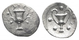 Southern Apulia, Tarentum, c. 280-228 BC. AR Obol (10mm, 0.51g, 9h). Kantharos; five pellets around. R/ Kantharos; five pellets around; H to r. Vlasto...