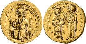 Romanus III Argyrus, 1028-1034. Histamenon (Gold, 24 mm, 4.40 g, 6 h), Constantinopolis. +IҺS XIS RЄX RЄςNANTIҺm Christ, nimbate, seated facing on squ...