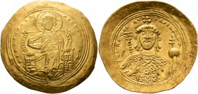 Constantine IX Monomachus, 1042-1055. Histamenon (Gold, 30 mm, 4.42 g, 6 h), Constantinopolis. +IhS XIS RЄX RЄςNANTIҺm Christ, nimbate, seated facing ...