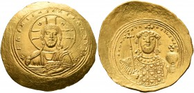 Constantine IX Monomachus, 1042-1055. Histamenon (Gold, 27 mm, 4.37 g, 5 h), Constantinopolis. +IhS XIS RЄX RЄςNANTIҺm Nimbate bust of Christ facing, ...