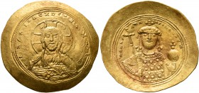 Constantine IX Monomachus, 1042-1055. Histamenon (Gold, 28 mm, 4.44 g, 6 h), Constantinopolis. +IhS XIS RЄX RЄςNANTIҺm Nimbate bust of Christ facing, ...