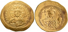 Constantine IX Monomachus, 1042-1055. Histamenon (Gold, 28 mm, 4.41 g, 5 h), Constantinopolis. +IhS XIS RЄX RЄςNANTIҺm Nimbate bust of Christ facing, ...