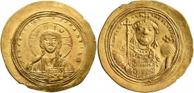 Constantine IX Monomachus, 1042-1055. Histamenon (Gold, 27 mm, 4.41 g, 6 h), Constantinopolis. +IhS XIS RЄX RЄςNANTIҺm Nimbate bust of Christ facing, ...