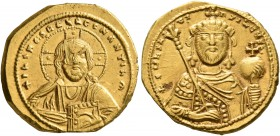 Constantine IX Monomachus, 1042-1055. Tetarteron (Gold, 18 mm, 4.03 g, 6 h), Constantinopolis. +IҺS XRS RЄX RЄGNANTIm Bust of Christ facing with cross...