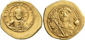 Constantine IX Monomachus, 1042-1055. Tetarteron (Gold, 19 mm, 4.08 g, 6 h), Constantinopolis. +IҺS XRS RЄX RЄGNANTIm Bust of Christ facing with cross...