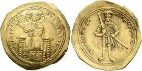 Isaac I Comnenus, 1057-1059. Histamenon (Gold, 26 mm, 4.42 g, 6 h), Constantinopolis. +IhX IIC RЄX RIςNANTҺIm Nimbate Christ enthroned facing, wearing...
