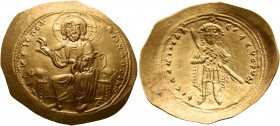 Isaac I Comnenus, 1057-1059. Histamenon (Gold, 26 mm, 4.43 g, 6 h), Constantinopolis. +IhX IIC RЄX RIςNANTҺIm Nimbate Christ enthroned facing, wearing...