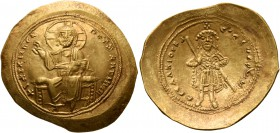 Isaac I Comnenus, 1057-1059. Histamenon (Gold, 26 mm, 4.38 g, 6 h), Constantinopolis. +I hZ XIZ RЄX RCςNANTҺIm Nimbate Christ enthroned facing, wearin...