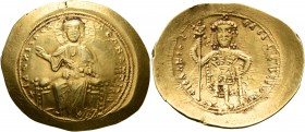 Isaac I Comnenus, 1057-1059. Histamenon (Gold, 27 mm, 4.38 g, 6 h), Constantinopolis. +I hZ XIZ RЄX RCςNANTҺIm Nimbate Christ enthroned facing, wearin...