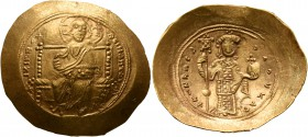 Constantine X Ducas, 1059-1067. Histamenon (Gold, 28 mm, 4.37 g, 6 h), Constantinopolis. +I XIS RЄX RЄINANTҺI Christ, nimbate, seated facing on square...