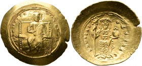 Constantine X Ducas, 1059-1067. Histamenon (Gold, 26 mm, 4.35 g, 6 h), Constantinopolis. +IҺS IXS REX REGNANTIҺm Christ, nimbate, seated facing on str...