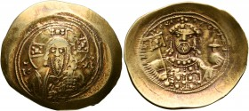 Michael VII Ducas, 1071-1078. Histamenon (Gold, 29 mm, 4.30 g, 6 h), Constantinopolis. Bust of Christ Pantokrator facing, wearing tunic and pallium, r...