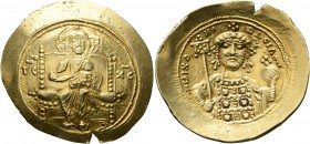 Michael VII Ducas, 1071-1078. Histamenon (Gold, 27 mm, 4.41 g, 6 h), Constantinopolis. Christ, nimbate, seated facing on square-backed throne, wearing...