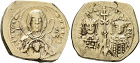 Michael VII Ducas, with Maria, 1071-1078. Tetarteron (Electrum, 20 mm, 4.00 g, 6 h), Constantinopolis. + ΘKE R-OHΘ Nimbate bust of Virgin facing, wear...